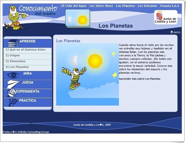"""""""Los planetas"""" (Aplicación interactiva de Ciencias Sociales de Primaria)"""