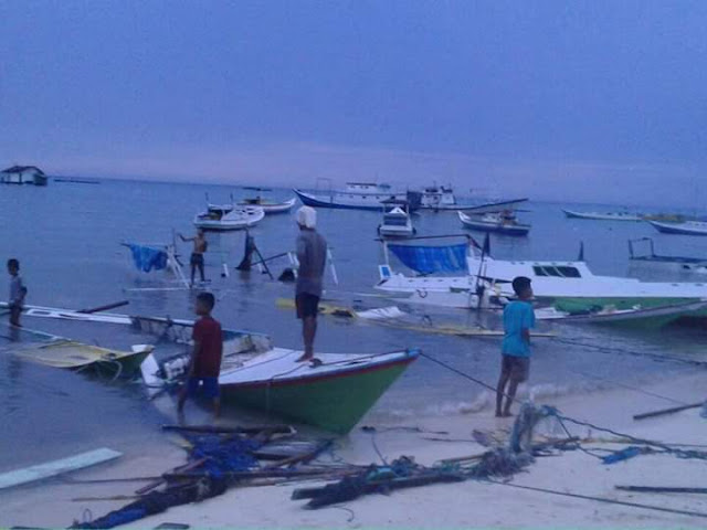 Breaking News : Pasca Gelombang Pasang, Begini Kondisi Warga ,Pulau Jinato Pagi Ini