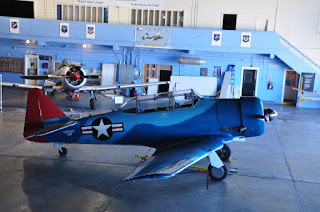 blue WWII airplane with red tail