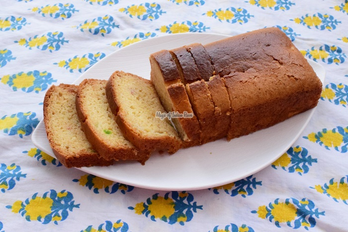 Eggless Pineapple & Tutti Frutti Tea Time Cake for Kids Recipe - पाइनएप्पल और टूटी फ्रूटी केक बिना अंडे के - Priya R - Magic of Indian Rasoi