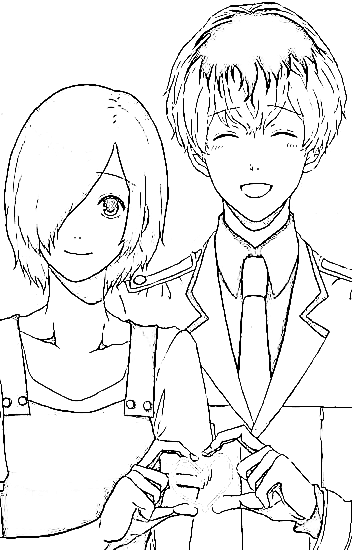 Kaneki y Touka para colorear, pintar, dibujar, imprimir