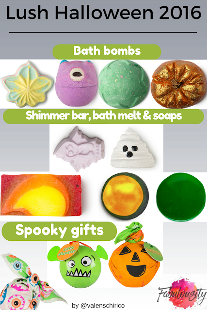 Lush Cosmetics' Halloween bath and body limited edition product chart