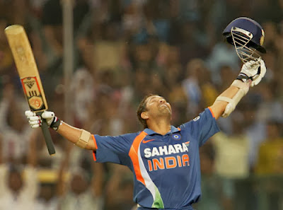 SachinTendulkar Celebrates after first Double ton