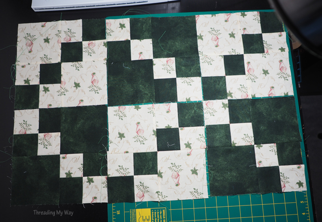 Threading My Way Double Four Patch Quilt Block