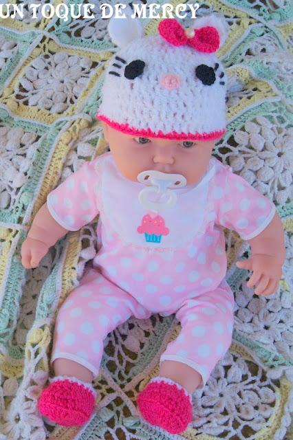 Un toque de mercy: gorro de crochet para bebe ..hello kitty