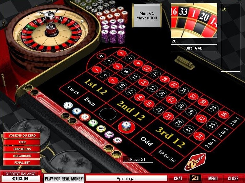 21 Nova Roulette Screen