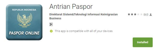 Aplikasi Antrian Paspor Online Play Store