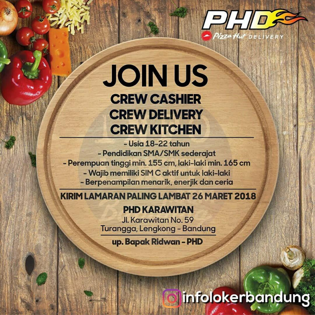 Lowongan Kerja Pizza Hut Delivery (PHD) Bandung Maret 2018