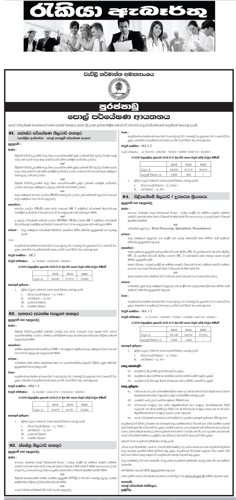 Senior Research Officer, Assistant Detector, Field Officer, Receptionist cum Telephone Operator Vacancy