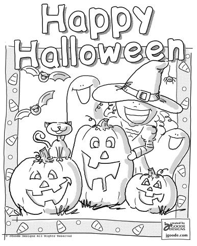 4 Picture of Happy Halloween Coloring Pages for Kids ...