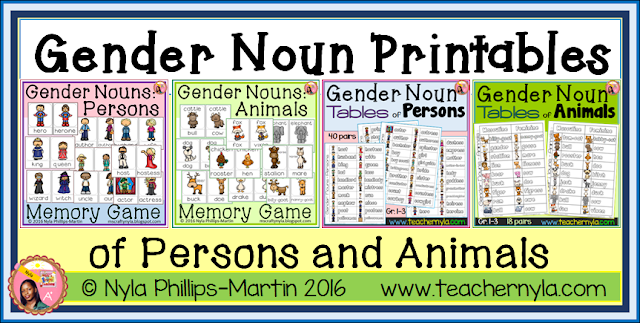 Gender Nouns Activities
