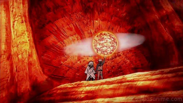 Salah satu bentuk rasenshuriken milik Naruto yang menggabungkan dengan chakra Son Goku, Elemen Lava