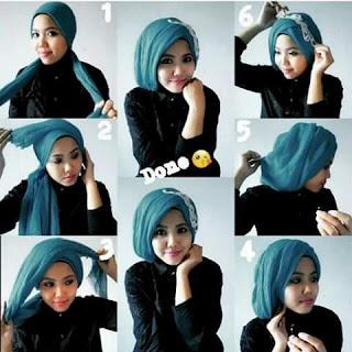 tutorial cara memakai model jilbab modern untuk acara pesta 2