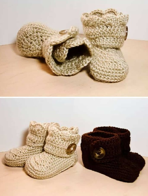 Crochet wrap Around Button Infant Boots (Girls & Boys) - Free Pattern
