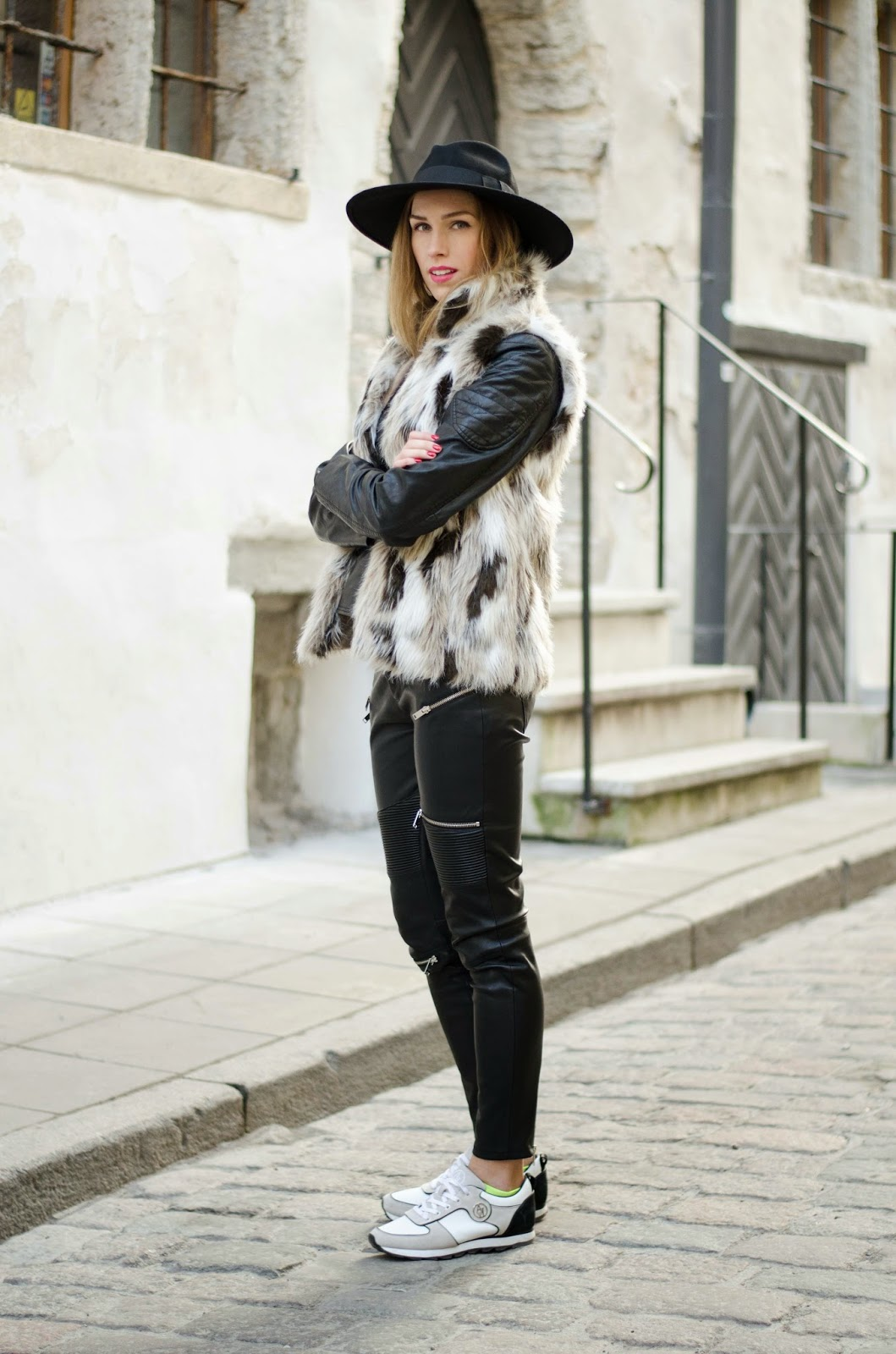 kristjaana mere fur vest leather pants black felt fedora casual minimalistic winter outfit