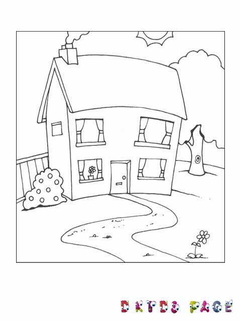 Kids Page Simple House Coloring Pages