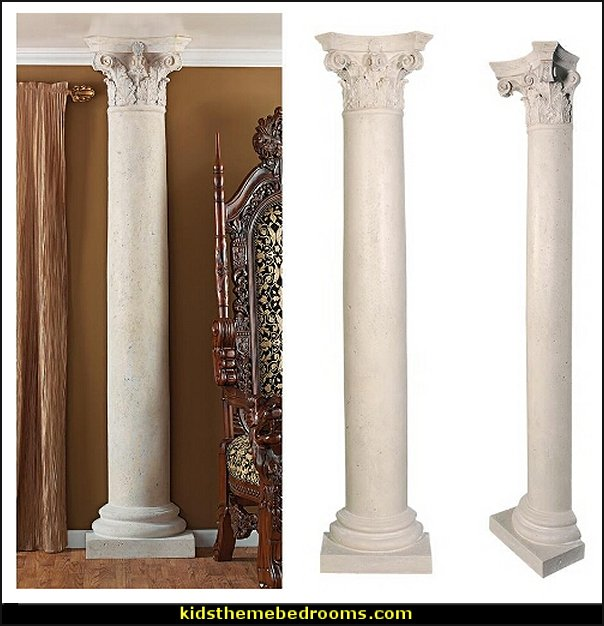 The Corinthian Architectural Half Column Wall Sculpture  mythology theme bedrooms - greek theme room - roman theme rooms - angelic heavenly realm theme decorating ideas - Greek Mythology Decorations -  angel wall lights - angel wings decor - angel theme bedroom ideas - greek mythology decorating ideas - Ancient Greek Corinthian Column - Spartan Warrior Gladiators - Greek gods - Angel themed baby room - angel decor - cloud murals - heaven murals - angel murals ethereal - greek key pattern - cupid theme bedrooms - cherub throw pillows - greek roman decor  - Column Wall Sculpture -  French Provincial furniture