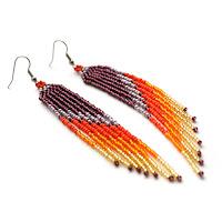 купить молодежные сережки ручной работы из бисера украшения в стиле бохо купить