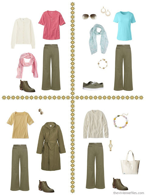 four travel capsule wardrobe outfits including olive pants