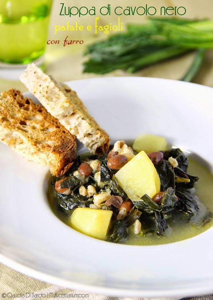Zuppa di cavolo nero, patate e fagioli con farro