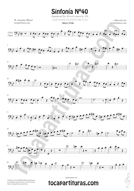 Partitura de Cello y Fagot de Sinfonía Nº40 de Mozart Sheet Music for Cello and Fagot Music Scores
