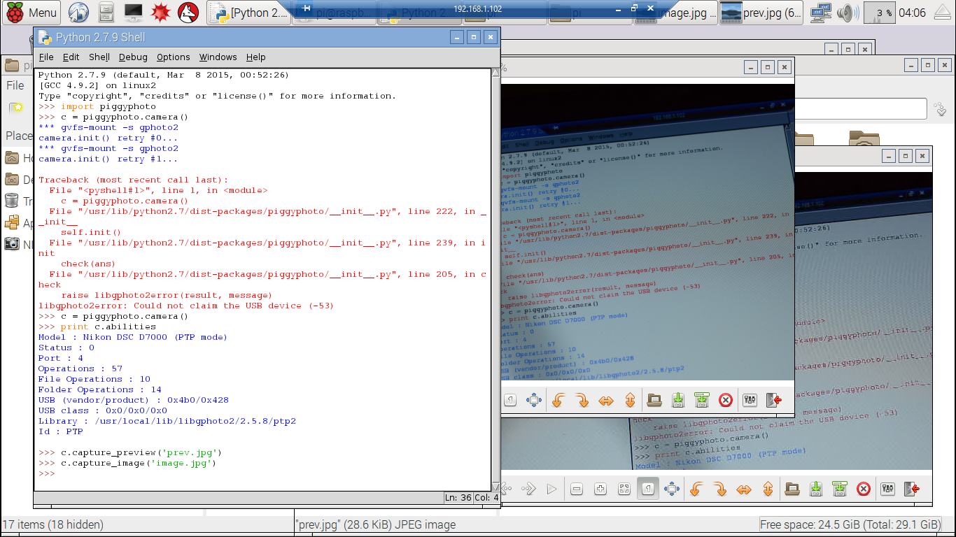 Hello Raspberry Pi: Python on Raspberry Pi to control DSLR