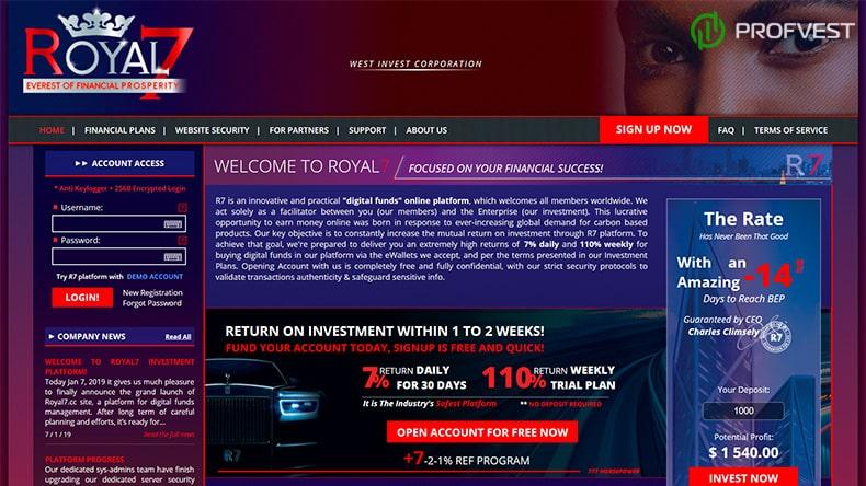 Royal7 обзор и отзывы HYIP-проекта