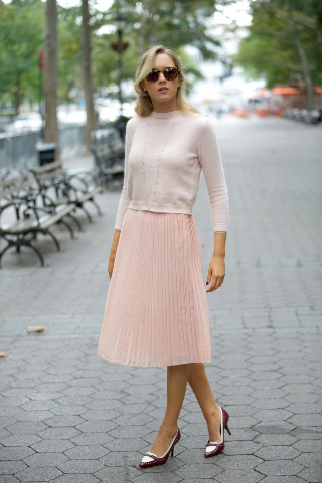 pastel pleated skirt crop sweater top karen walker super duper tory burch pumps fall fashion pastels pleats menswear pleated midi skirt cropped angora sweater karen walker super duper tortoise tory burch pumps heels pearl pearls gorjana the classy cubicle fashion blog for young professional women females woman girls 20s 30s 40s appropriate work wear office attire outfits professional corporate suit dos and donts crimes top ten day to night transition interview preppy office style dress for success step up lean in