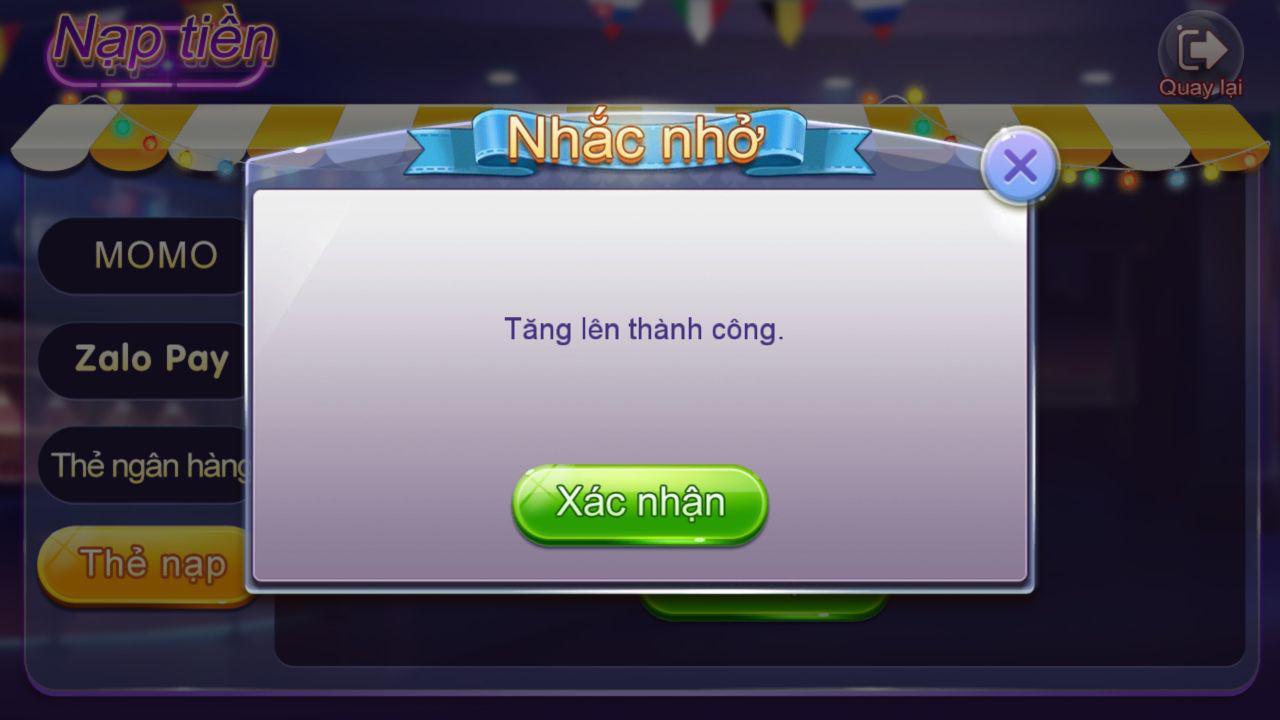 Thông báo nạp CODE thầnh công game Bingo Club