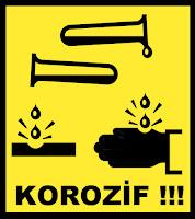 Korozif madde uyarı tabelası