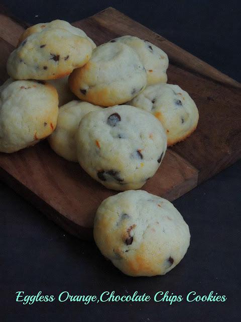 Eggless Orange Chocolate Chips Cookies