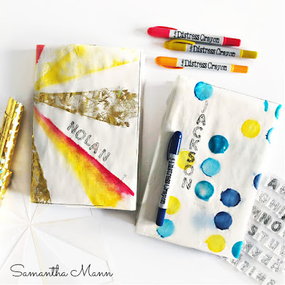 Back to School Book Covers by the Little Menn for the Cutest Video Hop Ever, Deco Foil, Flock, Distress Crayons, Ranger #bookcover #flock #foil #decofoil #distresscrayons #stencil #kidscraft #diykidsart