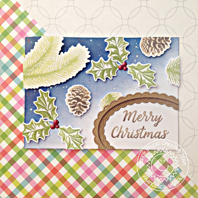Sunny Studio: Christmas Trimmings Elegant Holiday Cards with Franci