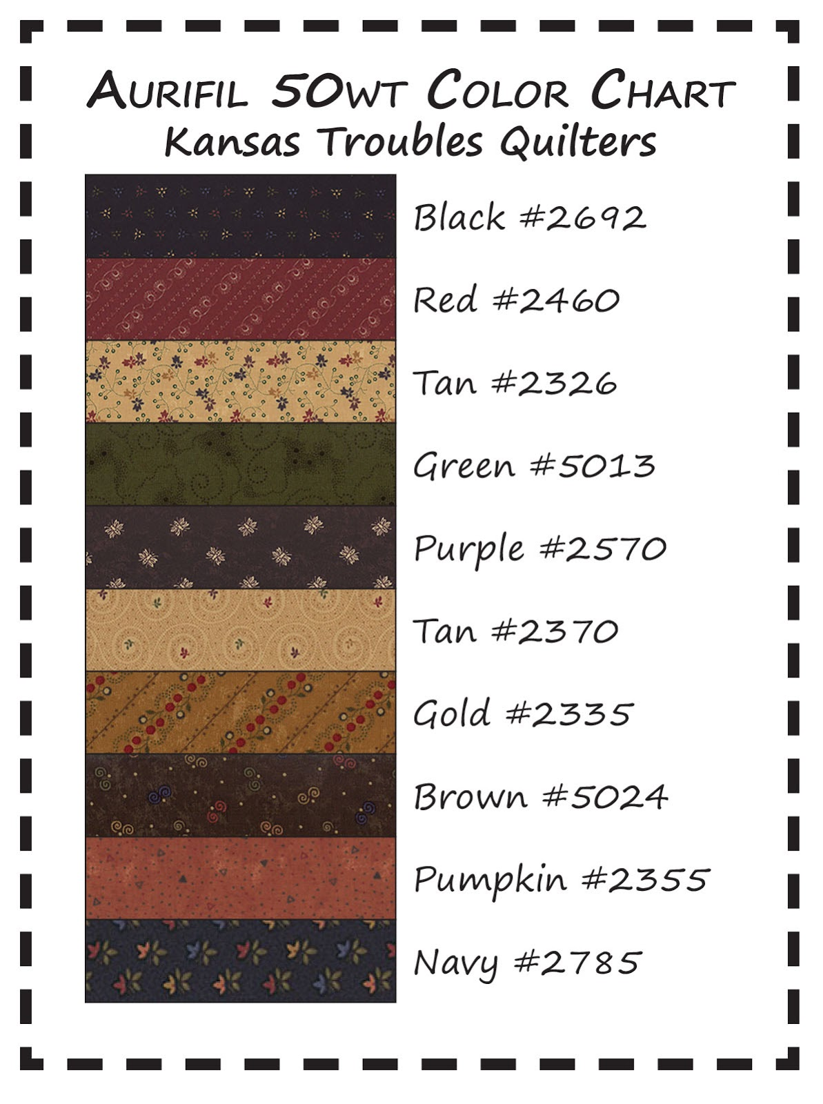 feel free to print our kt thread color chart from here or our website for handy pocket reference - Aurifil Thread Color Chart