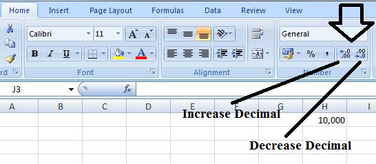 Letak Increase decimal dan Decrease decimal pada microsoft excel