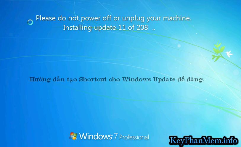 Tạo tính năng Shortcut cho Windows Update để cập nhật dễ dàng