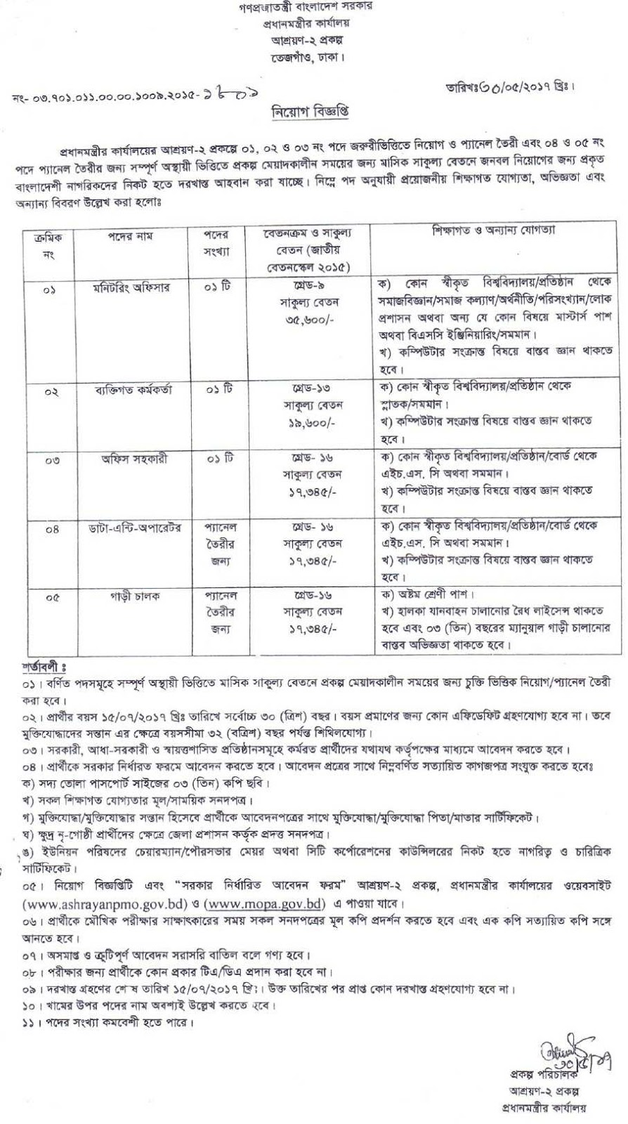 Prime Ministers Office Job Circular 2017 BD July