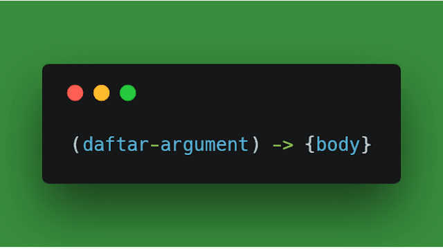 Contoh syntax lambda expressions di program bahasa pemrograman java