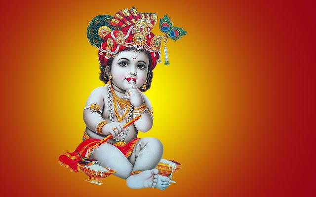 Bal Krishna / Shree Krishna Janmashtami  Wallpaper In Yellow Background