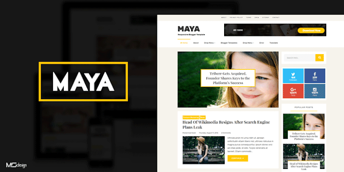 Maya Professional Blogging Blogger Template | Premium Download