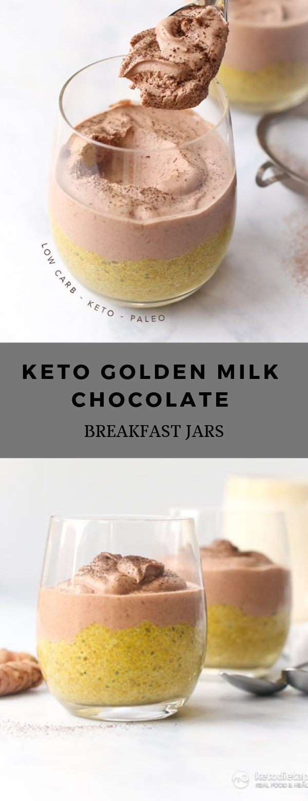 Keto Golden Milk Chocolate Breakfast Jars #BREAKFAST #DESSERT #KETO #LOWCARB
