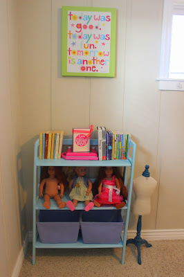 Blue chalk paint bookshelf