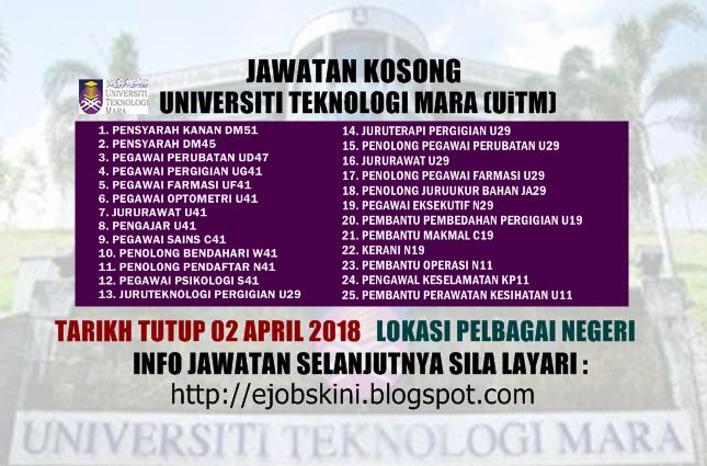 Jawatan Kosong Universiti Teknologi Mara Uitm 02 April 2018