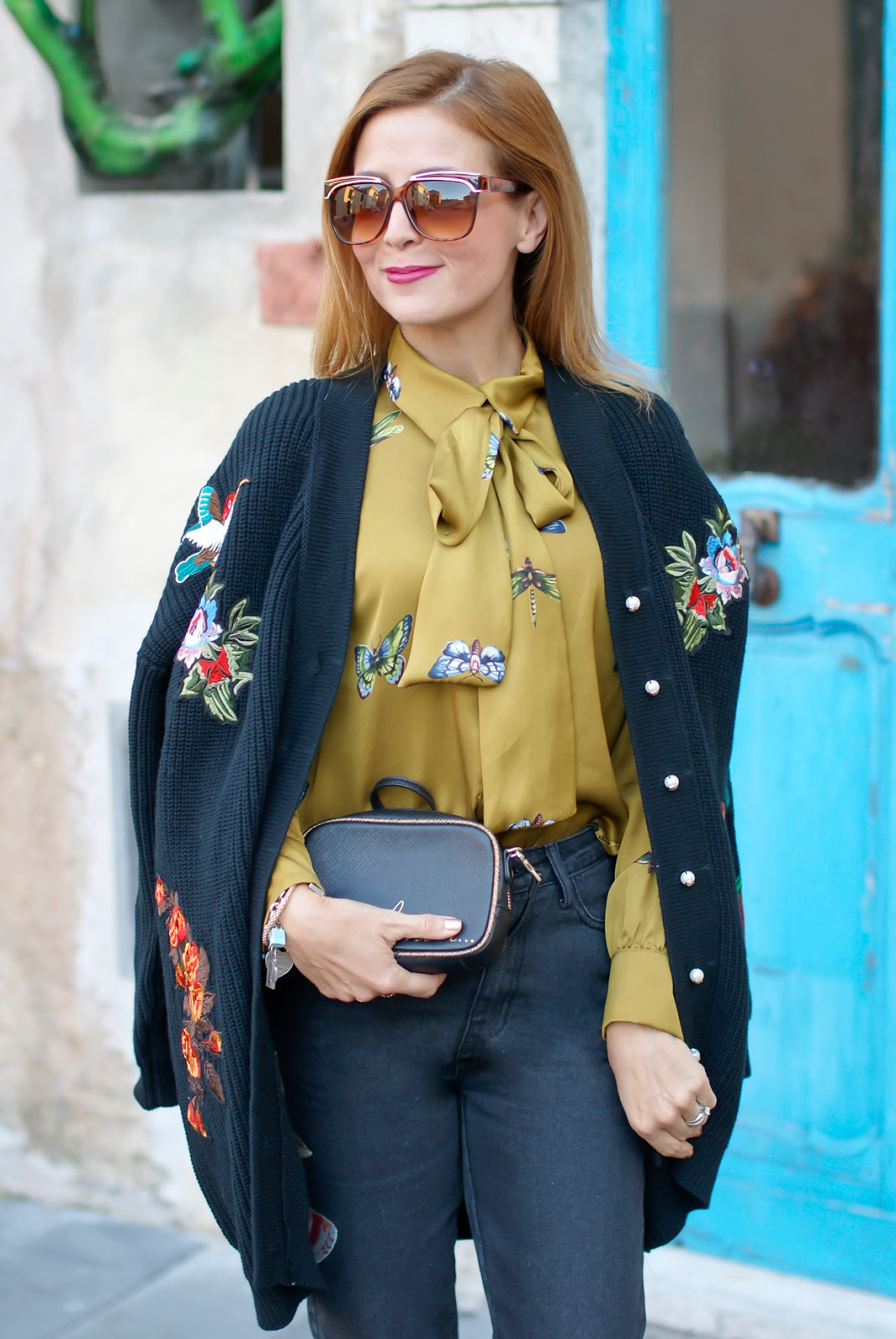 Gucci style Dezzal cardigan, Gucci butterfly satin shirt on Fashion and Cookies fashion blog, fashion blogger style
