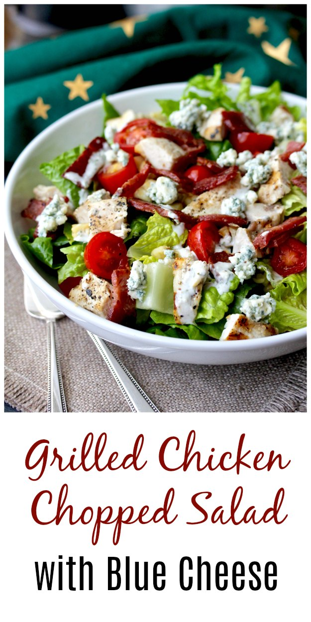 Grilled Chicken Chopped Salad with Duck Bacon and Buttermilk Blue Cheese Dressing
