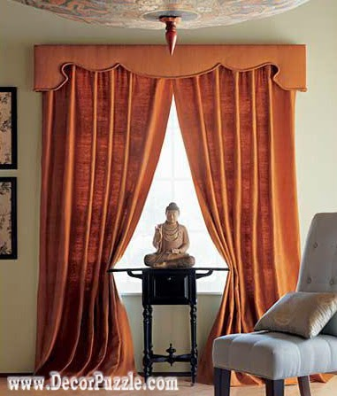 orange curtains designs 2018, luxury classic curtains and valance designs