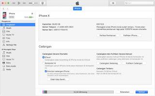 Klik restore data ke iphone di itunes