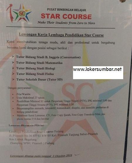 Lowongan Kerja di Padang – Bimbel STAR COURSE – Tutor (Penutupan 8 Okt.2016)