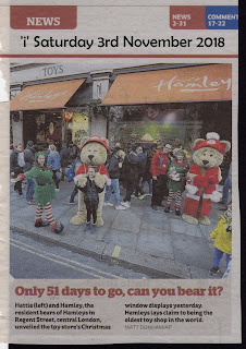 51 Days To Go; Bear Mascot's; Hamley Bear; Hamley's Christmas 2018; Hattie Bear; i Paper; Independent Newpaper; New For 2018; News; News Views Etc; News Views Etc...; Newspaper Clipping; Open Season; Saturday 3rd November 2018; Small Scale World; smallscaleworld.blogspot.com; Toy Sale; Toy Sales; Toys; Toys In The Media;
