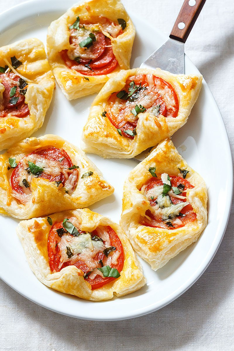 Pepperoni Basil Tomato Puffs Dessert Your Table
